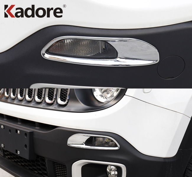 ABS Front Bottom Grill Frame Cover 2pcs Trim For Jeep Renegade 2015-2017