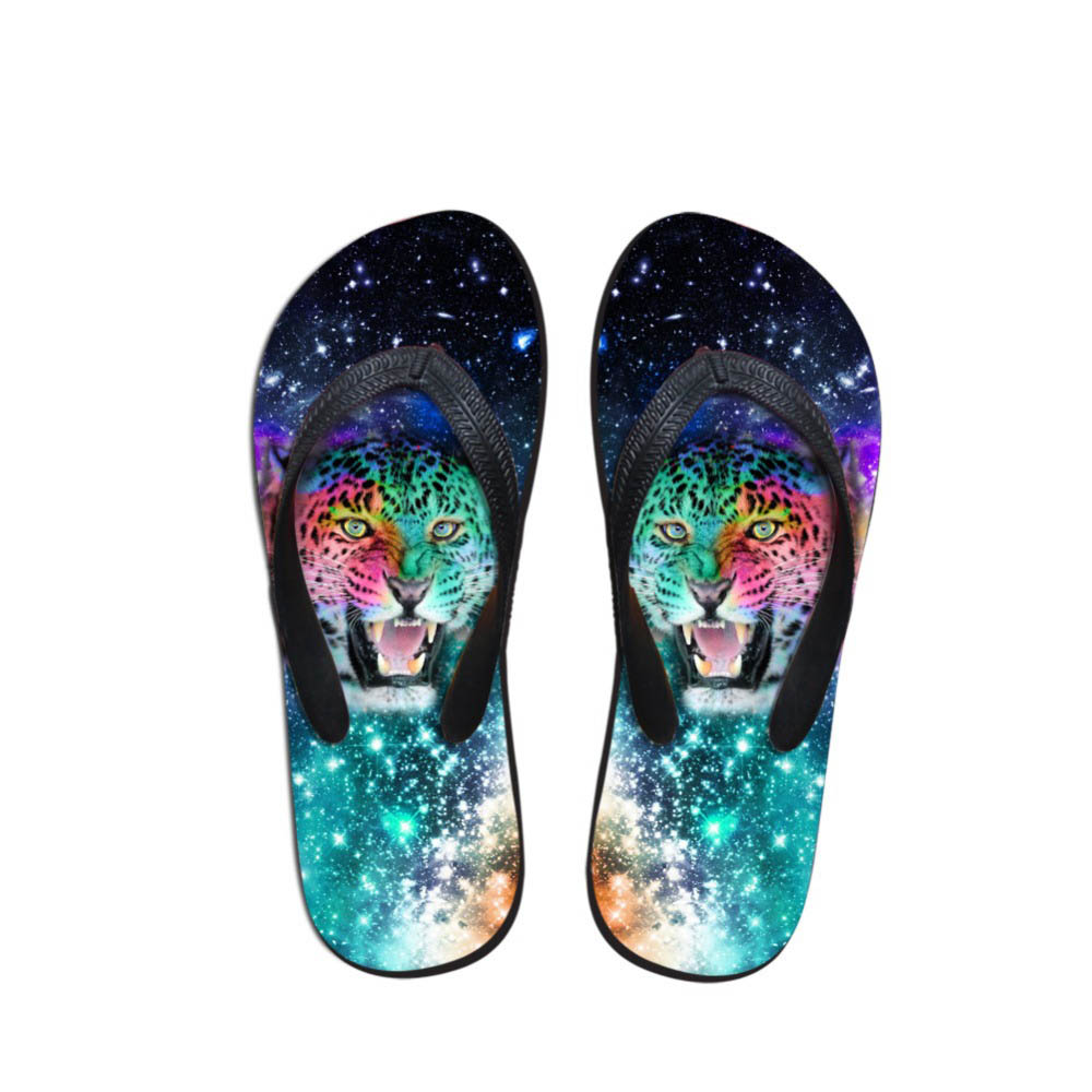 Casual Slippers Man Home Tiger Pattern Indoor Slippers Unisex Painting Men's Summer Flip Flops Pool Shower Shoes