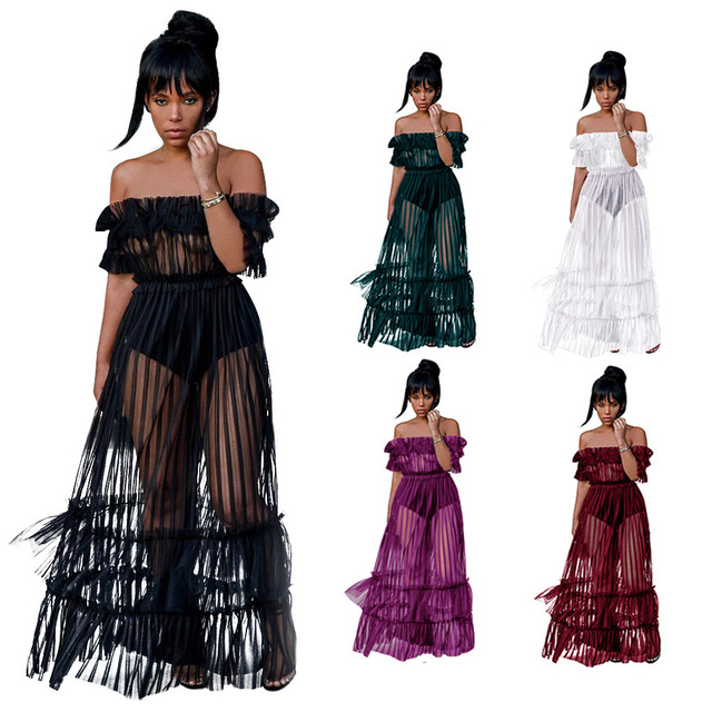 Women Ruffle Off Shoulder Mesh Swimsuits Cover-Ups Sheer See Through Bikini Cover Up Tulle Lace Beach Long Dress
