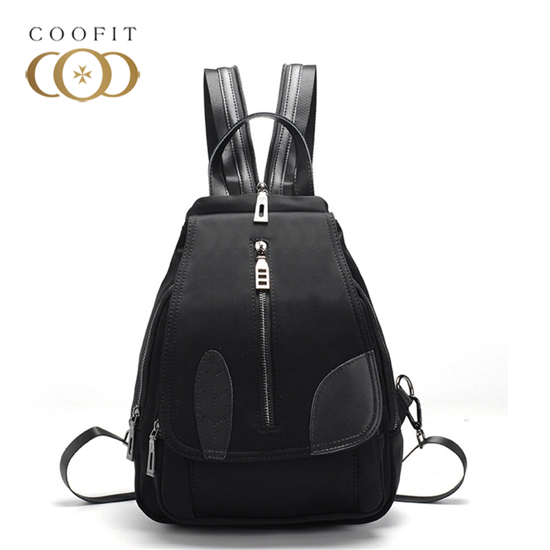 coofit Classic Casual Women Backpack Nylon Bags Simple Zipper Mini School Bags Travel Backpack For Ladies With Cell Phone Black women s classic backpack