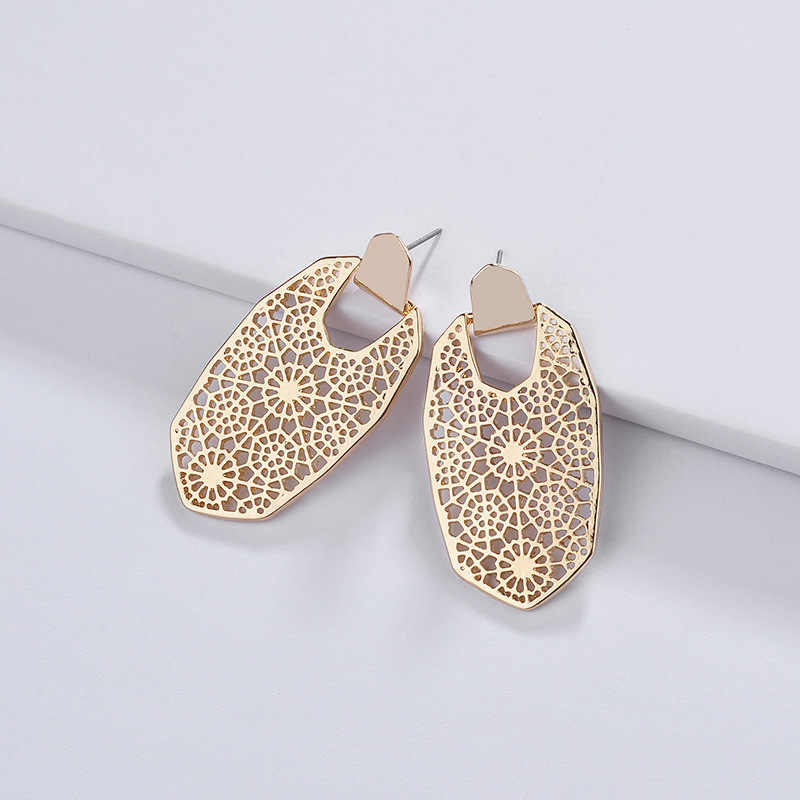 2019 Brand KS Gold Filigree Lattice Oval Earrings for Women Fashion Famous Designer Earrings Jewelry Valentine's Day Gifts
