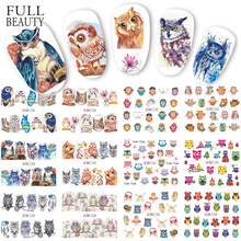 12 Types Owl Cute Cartoon Nail Water Sticker Decals Manicure Transfer Nail Art Decorations Adhesive Foils DIY Tool CHBN1153 1164