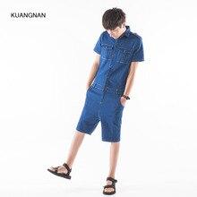 Men jeans Jumpsuit Fashion casual Short Sleeve Denim Overalls knee length Jumpsuit Male Slim Fit Harem Pant Hip-Hop Trousers