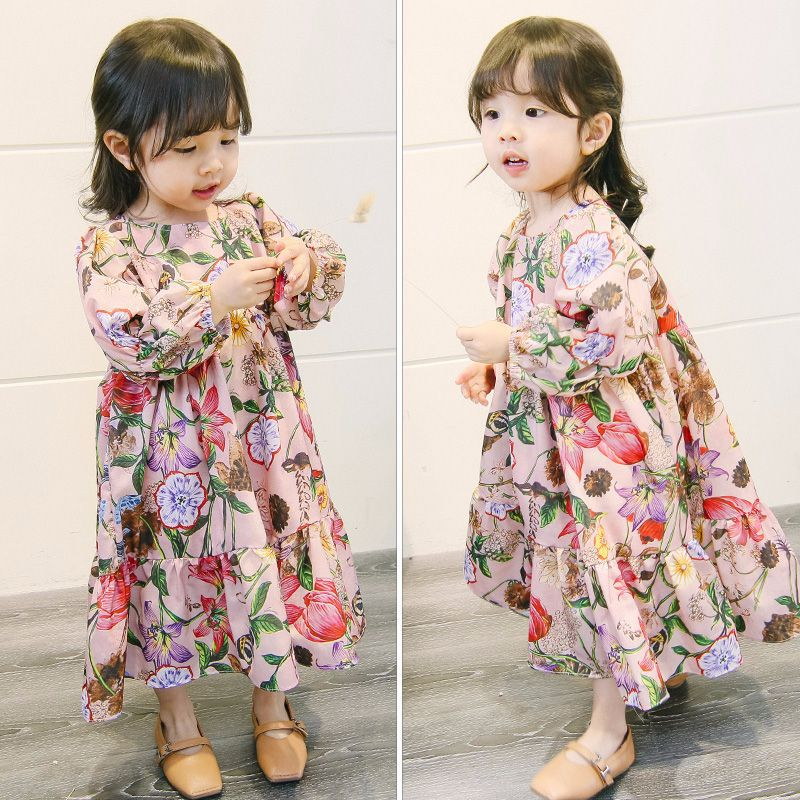 Girl s Long Dress Knee Length INS Hot Japan Korean 2018 Autumn Children s Wear Big