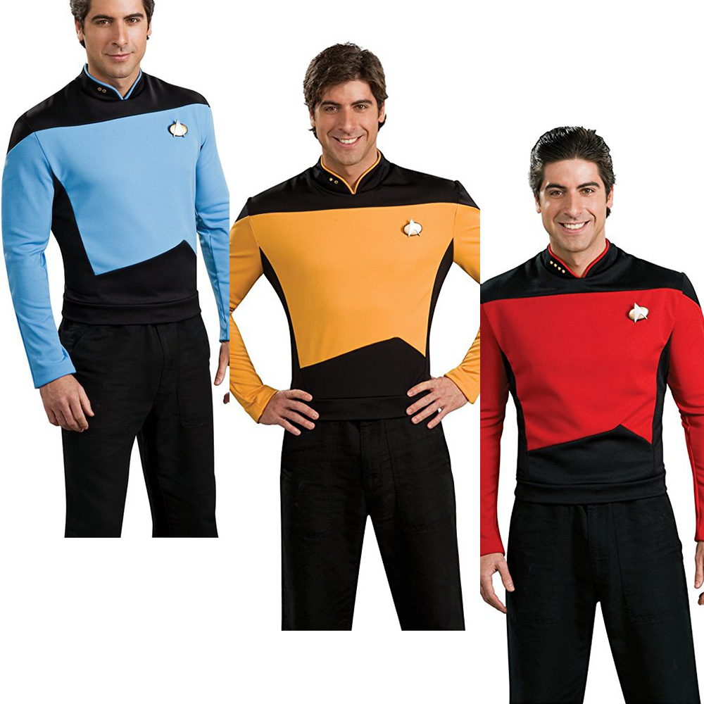 Star Trek Costume TNG The Next Generation Badge Red Yellow Blue Shirt Uniform Cosplay Costume For Men Coat Halloween Party