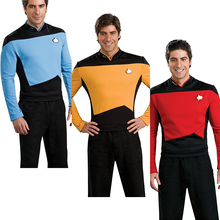 Womens Clothing Accessories - Costumes  - Star Trek Costume TNG The Next Generation Badge Red Yellow Blue Shirt Uniform Cosplay Costume For Men Coat Halloween Party
