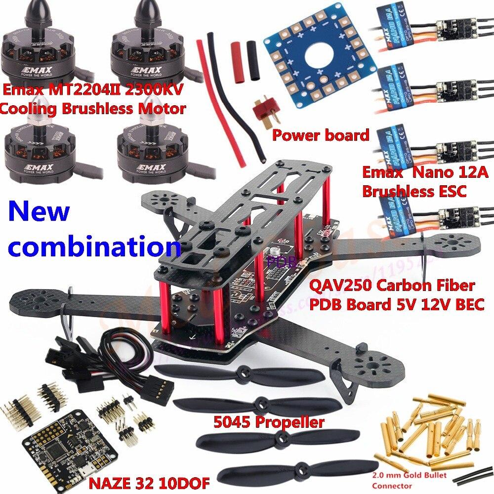 NEW!! QAV250 V2 Carbon Fiber FPV Mini Quadcopter Frame Kit PDB Board&Emax MT 2204 II Motor&NANO 12A ESC&Naze 32 10DOF &Propeller new qav250 v2 carbon fiber fpv mini quadcopter frame kit pdb board