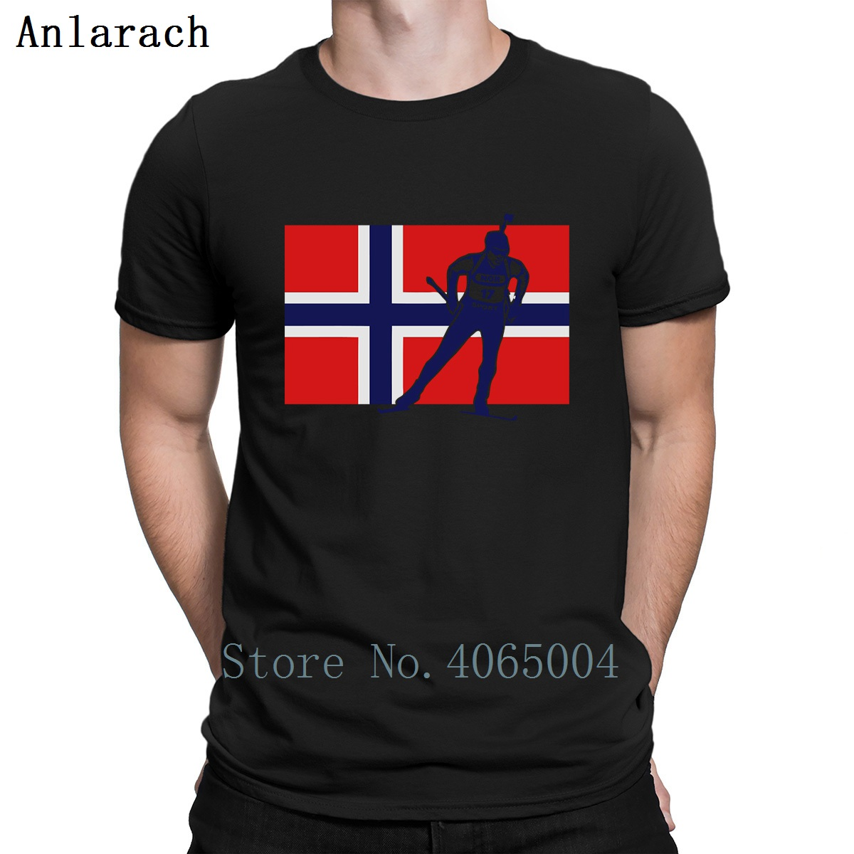 Norway Biathlon T Shirt Personalized Funny Casual Crazy Homme Spring Autumn Standard Cotton Round Collar Shirt