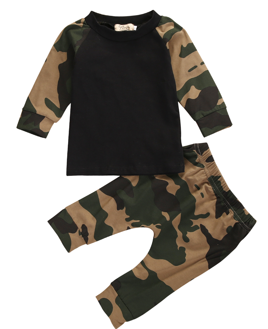 2017 Cool Camouflage Newborn Baby Boys Clothes Infant Kids Casual T-shirt Tops Pants 2pcs Outfit Children Clothing Set 0-24M infant baby boy girl 2pcs clothes set kids short sleeve you serious clark letters romper tops car print pants 2pcs outfit set