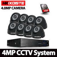 8CH CCTV Kit de vigilancia 4MP sistema de cámara de seguridad 8CH AHD DVR NVR 4MP salida de vídeo 8 piezas 4.0MP AHD Cámara detección de movimiento 2 TB