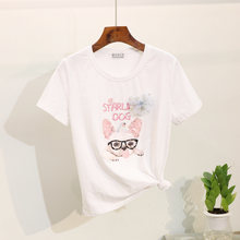 Summer 2019 New Tshirt Women Tops Fashion Beading Sequin Cartoon Print Short sleeve Ladies T Shirts Loose Wild Graphic Tees Top(China)