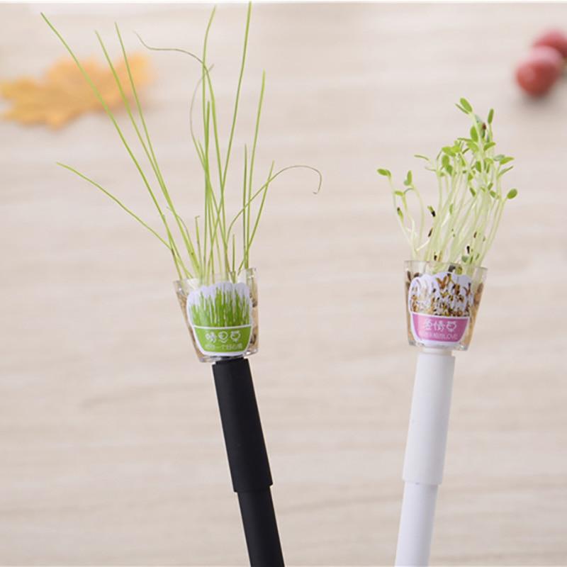 Cute Garden Grow Grass Gel Pen Kawaii Potted Pens 0.5mm Black Lovely Plant Gel Pen Stationery Creative Gift Office School Supply