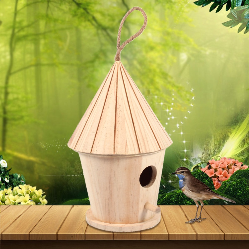 Wooden Diy Bird House Mini Birdhouse Decoration Hanging Christmas Indoor Outdoor Nest Nesting Box For Home