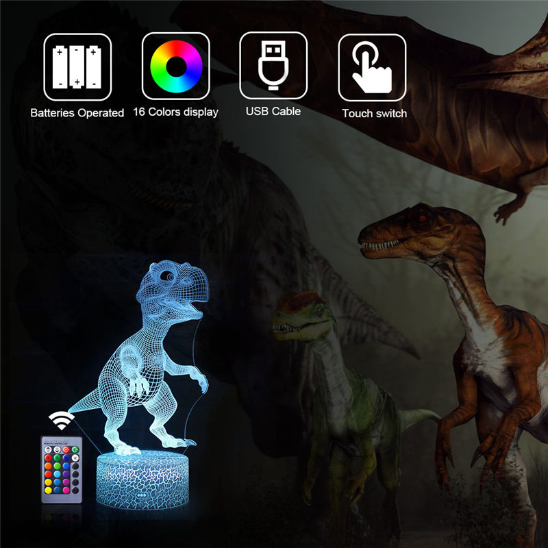3D Dinosaur Lamp Remote Touch Control LED Night Light Table Desk Decor Xmas Gift