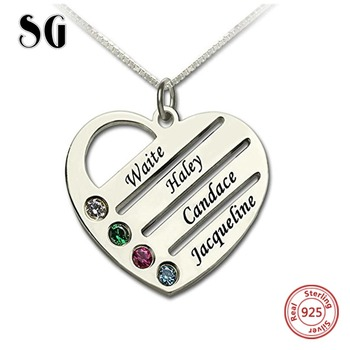Customized Jewelry 925 Sterling Silver Heart Necklace Engraved Name Pendant fashion For Women Mother Gift lotus fun moment real 925 sterling silver designer fashion jewelry fashion love heart tassel pendant without necklace for women