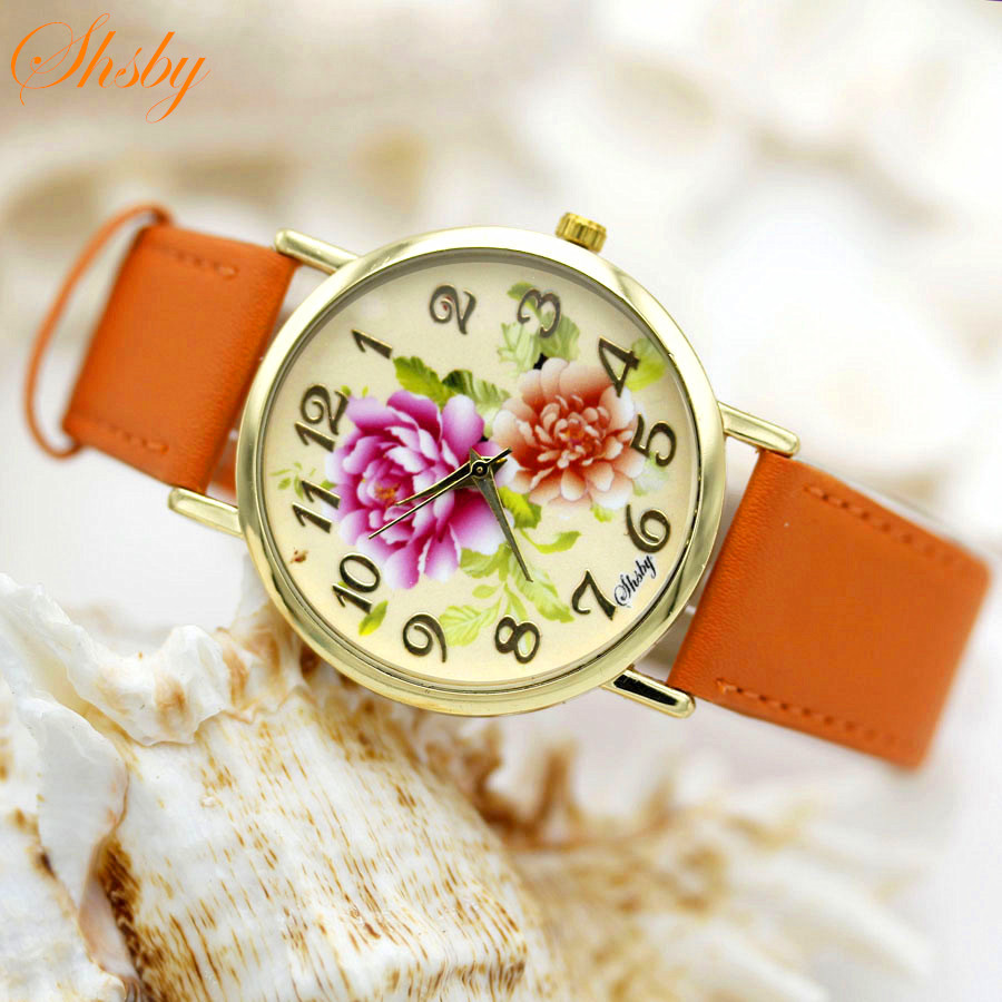 Shsby Brand flowers Leather Strap Watches Women Dress Watch Fashion girl Casual Quartz Watch Ladies WristWatch relogio feminino new top brand guou women watches luxury rhinestone ladies quartz watch casual fashion leather strap wristwatch relogio feminino