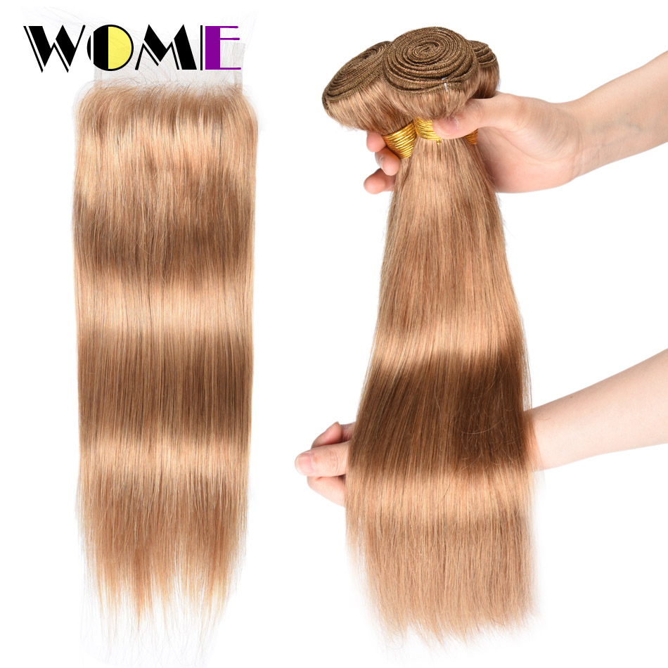 Wome Hair Malaysian Hair 3 Bundles With 4x4 Lace Closure Straight 27 Honey Blonde Human Hair