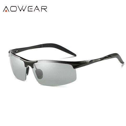 Óculos de Sol dos Homens Liga de Óculos Aowear Marca Designer Homens Fotocromáticas Polarizados Piloto Masculino Uv-resistantgoggles Condução Gafas