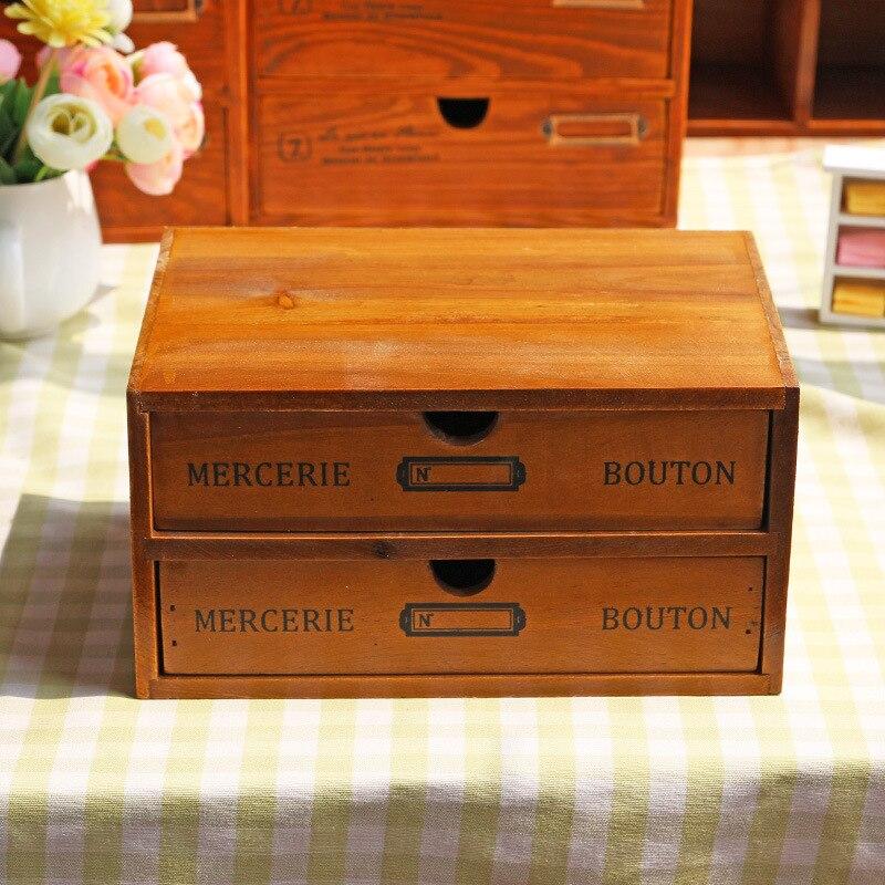 Rangement maison & Organization décoration bois boîte à cosmétiques Vintage en bois mallette de rangement tiroir maquillage boîte boîtes de rangement fournitures - 4