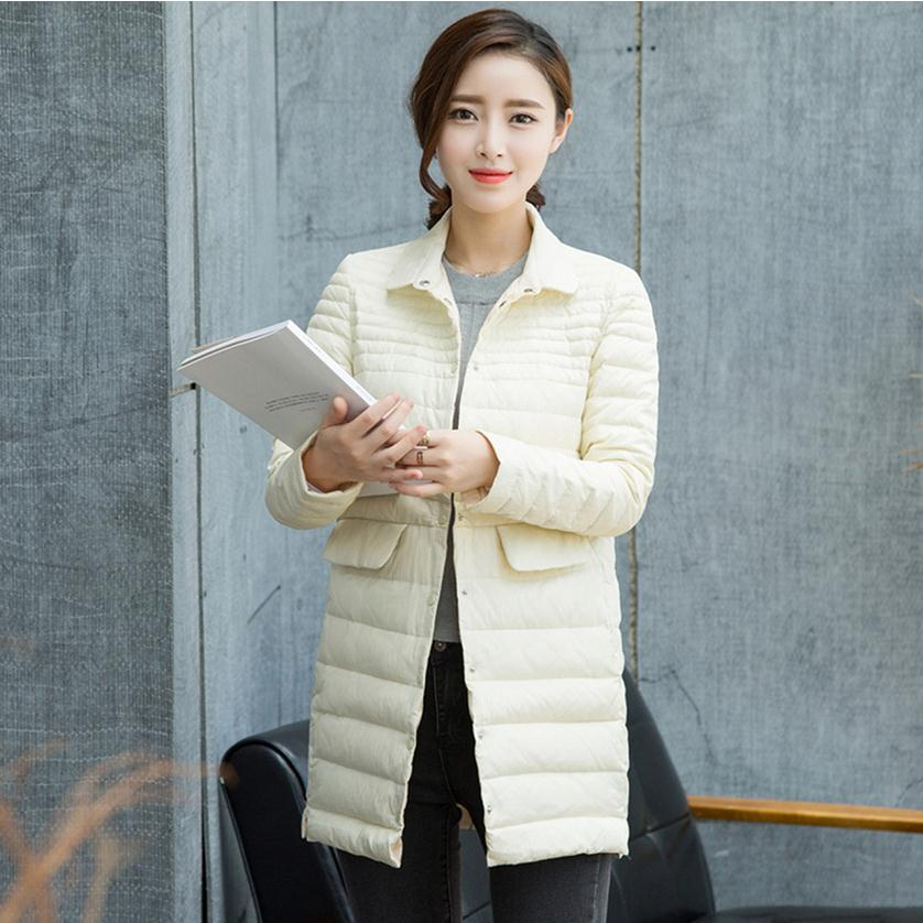 2018 new fashion brand Korean light Slim 90% duck down jacket women was thin single breasted lapel collar down warm coat w1671