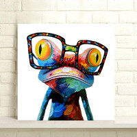 Hand Painted Cartoon Paintings Pallete Funny Frog Pictures Animal Oil Painting Knife On Canvas Abstract Home