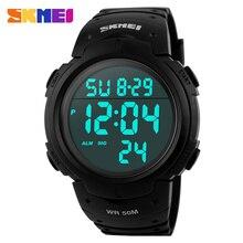 Skmei deportes al aire libre relojes hombres corriendo gran dial relojes de pulsera digitales cronógrafo correa de pu 50 m reloj resistente al agua 1068