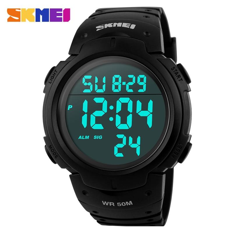 SKMEI Outdoor Sports Watches Men Running Big Dial Digital Wristwatches Chronograph PU Strap 50M Waterproof Watch 1068