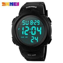 SKMEI Outdoor Sports Watches Men Running Big Dial Fashion Digital Wristwatches Chronograph PU Strap 50M Waterproof Watch 1068