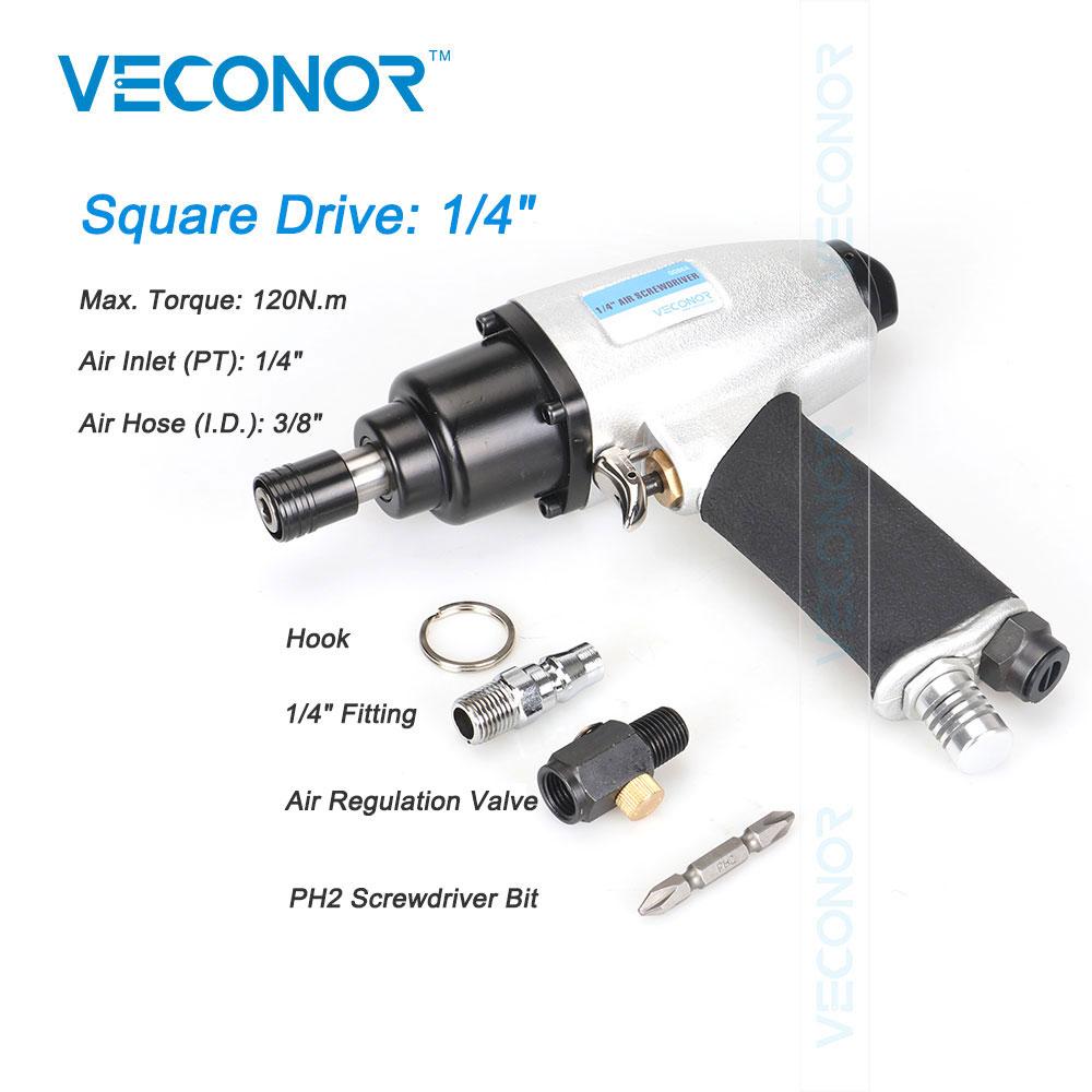 Veconor 1/4 Pneumatic Screwdriver Set Air Tools Gun For Screwdriving Power Air Tools High Torque Air Sleeve Industrial Level