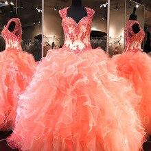 Vestidos De Formatura Ball Ruffles Organza Vintage Evening Elegant Robe Soiree Prom Gown 2018 mother of the bride dresses