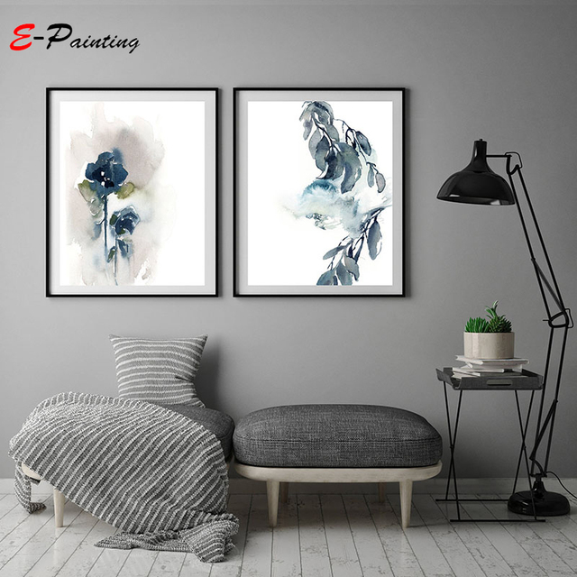 Abstract Botanical Print Wall Art Blue Grey Modern Watercolor