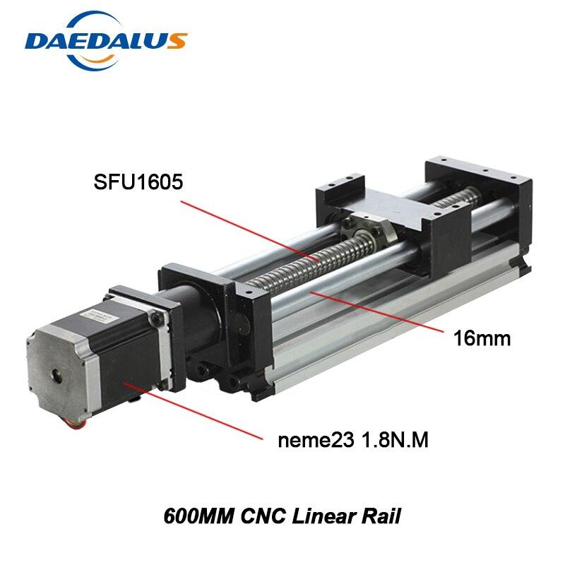 Linéaire Rail Cnc Kit Pour Kossel Mini Actionneur Linéaire Système Module Table 600mm Voyage Longueur Cnc Guide 1605 Vis À Billes coulissante