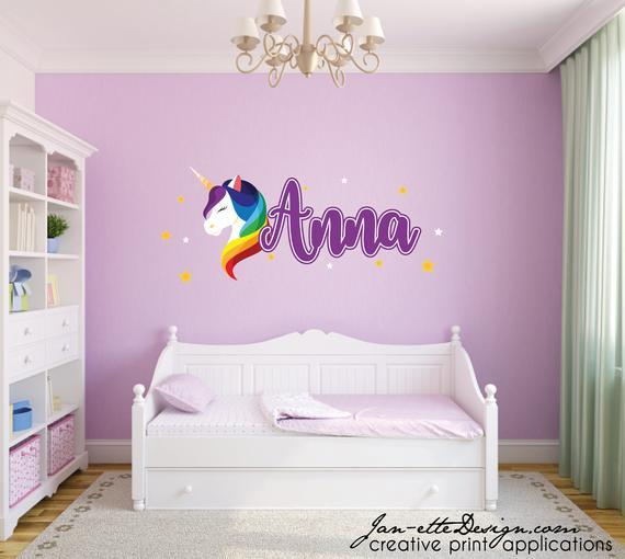Unicorn and Name Wall Decal Set Girly script name with Unicorn and stars Removable Fabric Wall Stickers Rainbow bedrooms sticker