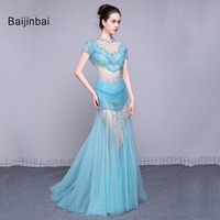 Baijinbai Prachtige Nieuwe Real Kralen Kwastje Blauw Tulle Lange Mermaid Avondjurken 2017 Crystal Rhinestone Vestido De Festa79181