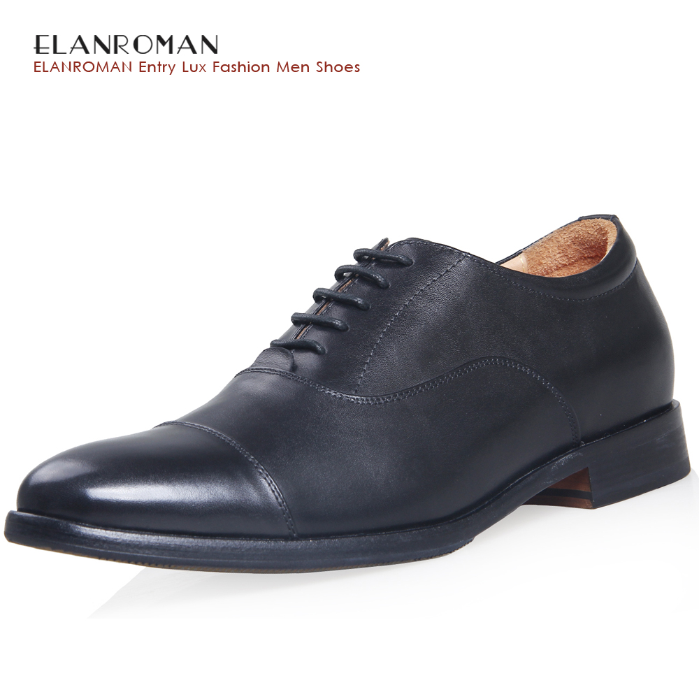 ELANROMAN Men's Shoes Oxfords Black Brand Summer Genuine Leather Wedding Dress Shoes Height Increasing 30mm Massage insoles elanrom summer men formal derby wedding dress shoes cow genuine leather lace up round toe latex height increasing 30mm massage