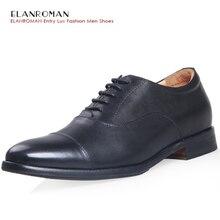ELANROMAN Роскошные Мужские Классические Ботинки Мужчины Оксфорды Высокое Качество Мужчины Черный Кожа Коровы Свадьба Офис Туфли BR-L1219