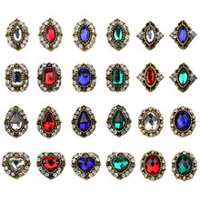 20pcs/lot 3D alloy Nail art Accessories shinning crystal Retro rhinestone nails decoration heart oval nail beauty DIY Charms