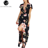 Lily Rosie Girl Women 2017 Black Deep V Neck Boho Floral Print Summer Party Maxi Dress