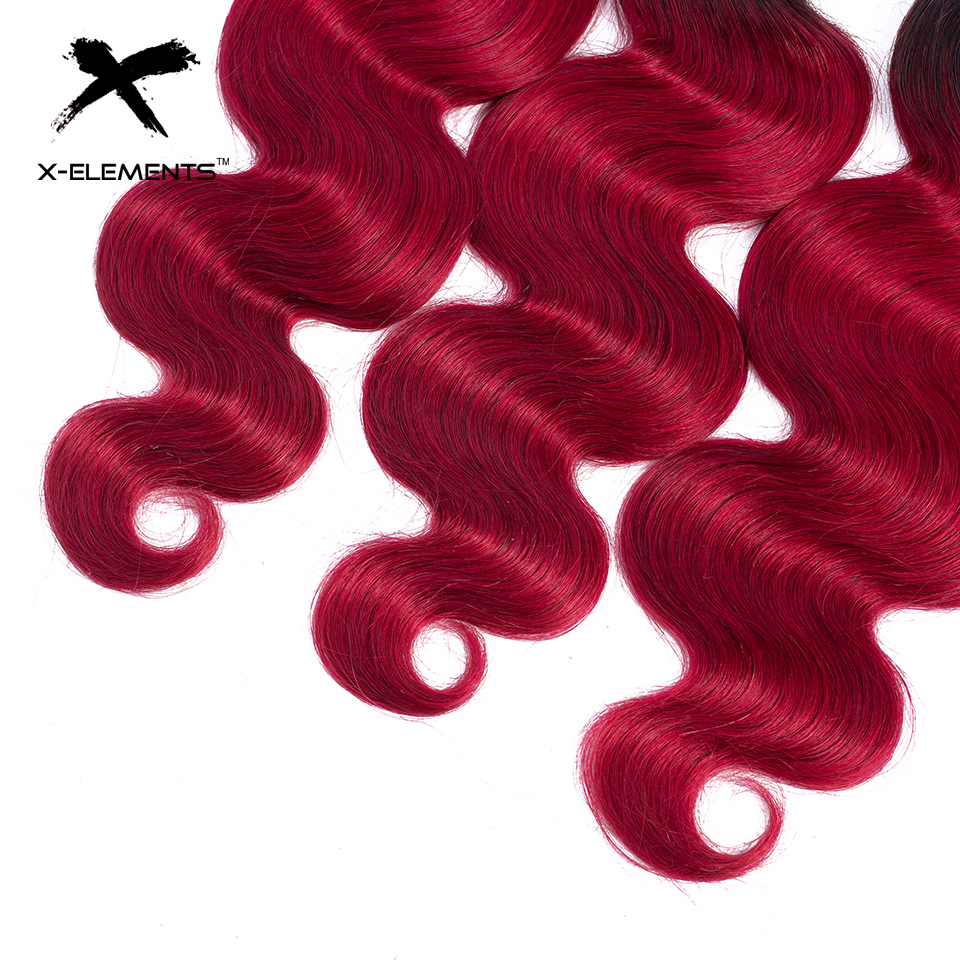 X-Elements Ombre Brazilian Body Wave Hair Bundles T1B Red T1B 30 T1B Burgundy Ombre Human Hair Extensions Two Tones Hair Weave Bundles (14)