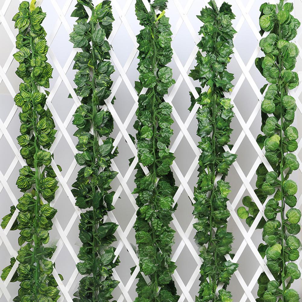 2M Fashion Artificial Grape Parthenocissus Leaves Vine Outdoor  Wall Hanging Garden Decor Artificial Plants Wedding Decoration
