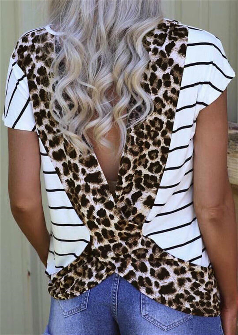 Fashion Women Tees 2019 Summer T-shirt Female Leopard Printed Open Back T-shirt New Stylish Tops Tee Shirt Femme Plus Size