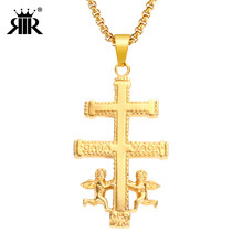 RIR Gold Catholic Caravaca Crucifix Orthodox Russia Cross Necklace Pendant With Cherub Angel Best Christian Necklaces For Men(China)