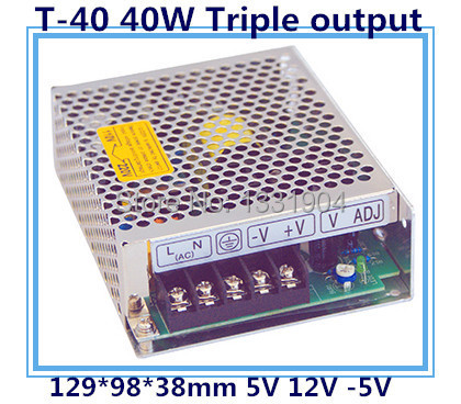 LED triple output switching power supply T-40 40W AC input, output voltage DC 5V 12V -5V transformer auxmart triple row led chips 12 led