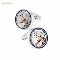 Julie Wang 1 Paar Mode Hohe Qualität Bewegung Uhr Manschettenknopf Männer Französisch Hemdsärmel Nagel Geschäftsmanschettenknöpfe Geschenk Mit Box