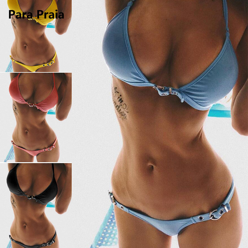 Brazilian Bikini Set 2018 Swimwear Women Swimsuit Sexy Bandage Mini Bikini Push Up Swimsuit Biquini Adjustable Size Beachwear 2016 new fashion swimwear women sexy neoprene bikini set neoprene swimsuit biquini page 5