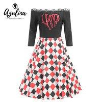 AZULINA Plus Size 5XL Valentine Plaid Lace Panel Dress Retro Vintage Party Dress Vestidos Off Shoulder