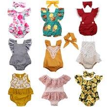 Детские комбинезоны с оборками для новорожденных девочек; летняя кружевная одежда с цветочным узором для маленьких девочек; Комбинезон для маленьких девочек; Новинка года