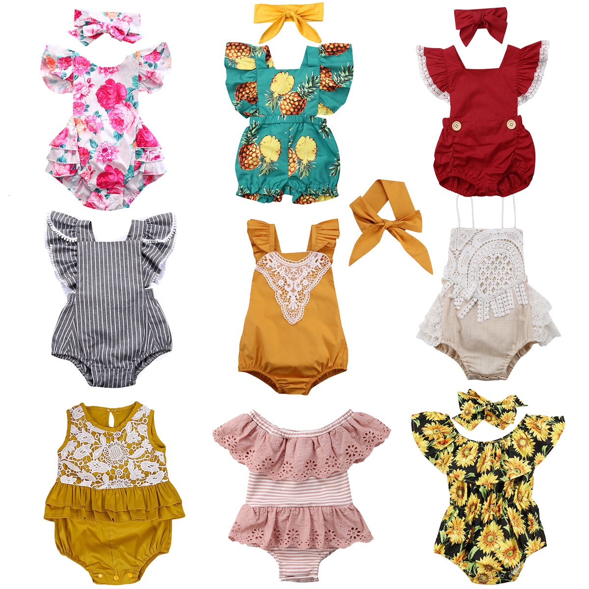 Infant Newborn Baby Girls Ruffles Rompers Summer Lace Flower Baby Girls Clothes Toddler Girl Jumpsuit Playsuit 2019 New