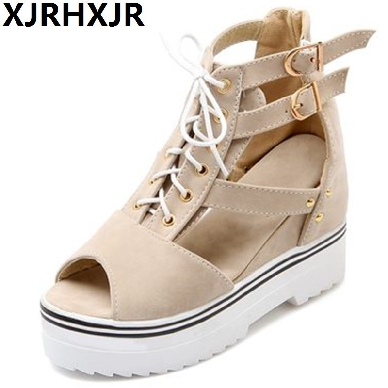 Plus Size 34-43 Women Shoes Fashion Buckle Platforms Wedges Ladies Casual Shoes Summer Open Toe Sandals Female High Heels Wedges large size 34 44 women open toe buckle high heels sandals wedges summer ladies cut outs peep toe rhinestone party wedding shoes