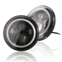 Pair 7INCH 40W Round LED Headlight With Halo Ring High Low Beam LED Light For Jeeps